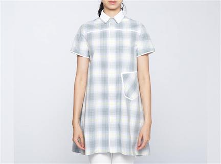 格紋長版女罩衫(灰)