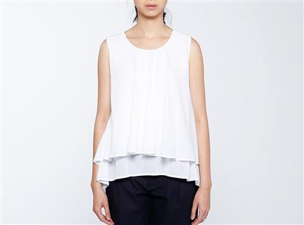短版雙層上衣(白)