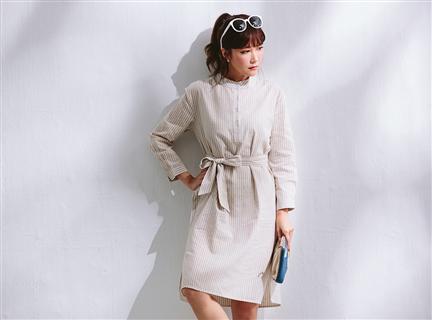 氣質小立領細條紋寬鬆綁帶洋裝