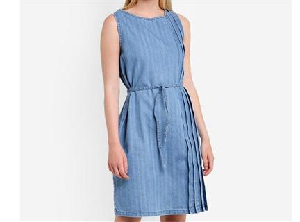 側邊壓摺綁帶洋裝 淺藍