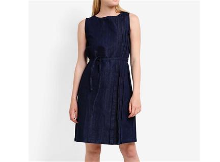 側邊壓摺綁帶洋裝 深藍